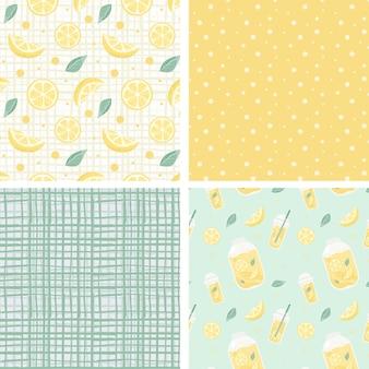 Коллекция с бесшовные модели с желтыми лимонами и горошек и клеткой. векторная иллюстрация.