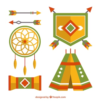 Collection with variety of ethnic elements in flat design