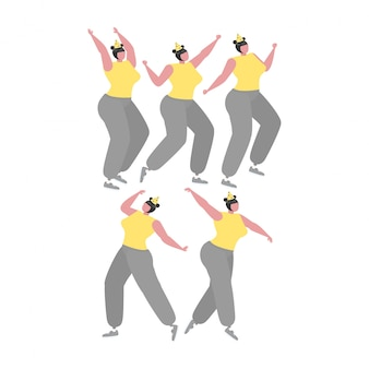 Collection of  woman dancing and having fun at a birthday party