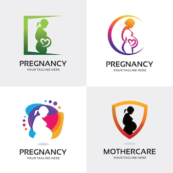 Collection of woman pregnant logo set design template