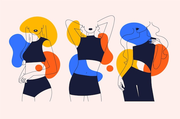 Collection of women in elegant line art style