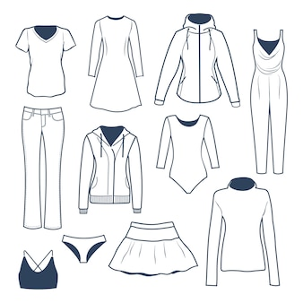 Collection of women's clothing illustration