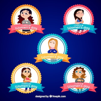 Collection of women's day badges in flat design