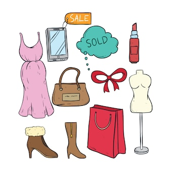 Collection of women shopping time with colored doodle or hand drawn style