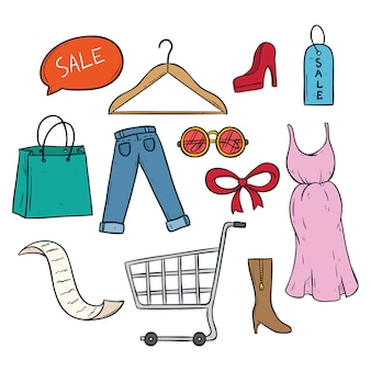 Collection of women shopping time with colored doodle