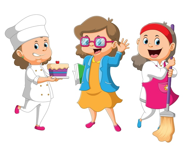 The collection of the women with the different job chef, officer, housewife