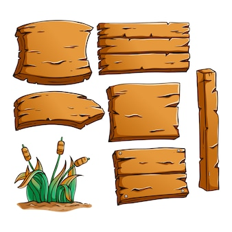 Collection of wooden billboard elements with cute colored hand drawn style