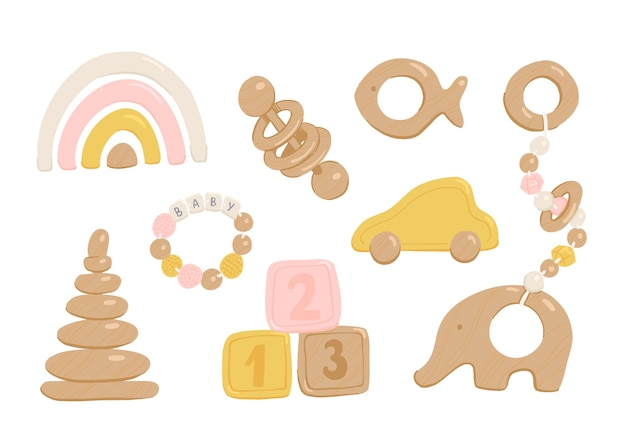 Collection of wooden toys for babies and toddlers.