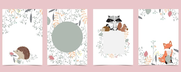 Collection of woodland background set with leaf