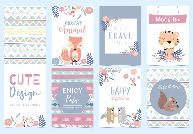 Collection of woodland cards set with fox, tiger, flower, wreath, squirrel illustration for birthday invitation
