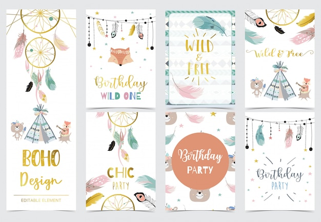 Collection of woodland cards set