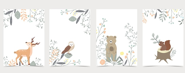Collection of woodland set with deer, squirrel, owl, bear.