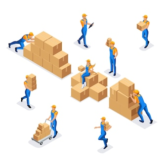 Collection of workers in a warehouse of a man and a woman in uniform with cardboard boxes, work of a warehouse and delivery service