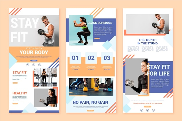 Collection of workout email template