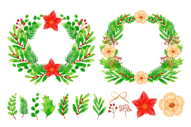 Collection of wreath and christmas flowers in watercolor