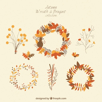 Collection of wreaths and bouquets for fall