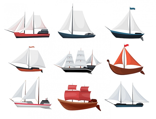 Collection of yachts, sailboats or sailing ships. cruise travel company icons design