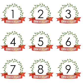 Collection of  years anniversary template with red ribbon and laurel wreath
