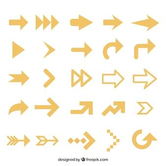 Raccolta delle frecce gialle in design piatto
