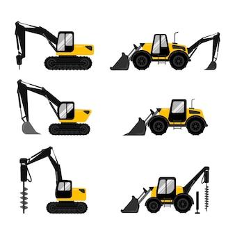 Collezione di escavatori gialli e neri