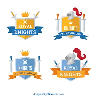 Collection of yellow and blue knight emblems