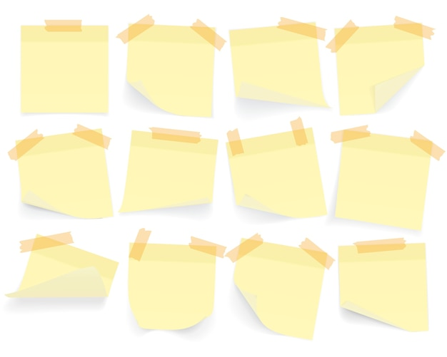 Collection of yellow colored sheets of note papers with curled corner and shadow, ready for your message. realistic. isolated on white background. set.