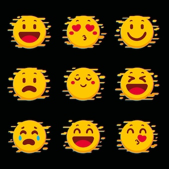 Collection of yellow glitch emojis
