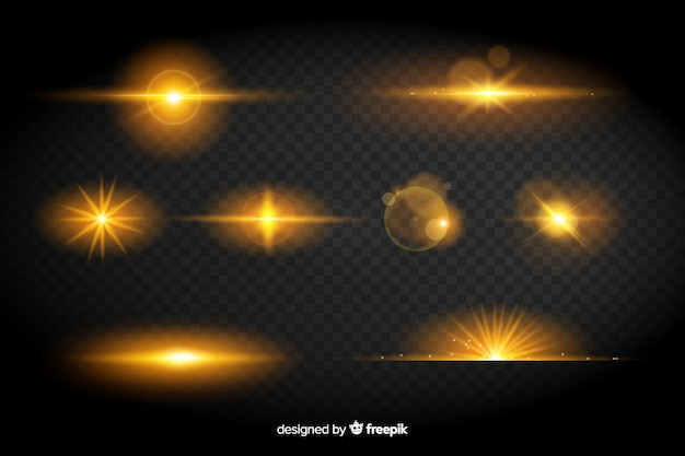 Collection of yellow lights effect