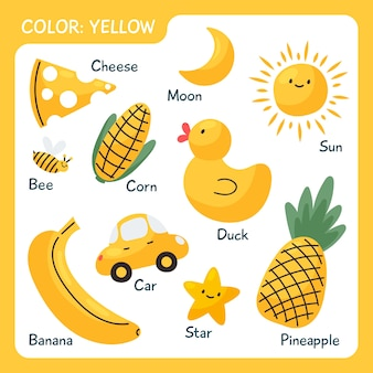 Collection of yellow objects and vocabulary words in english