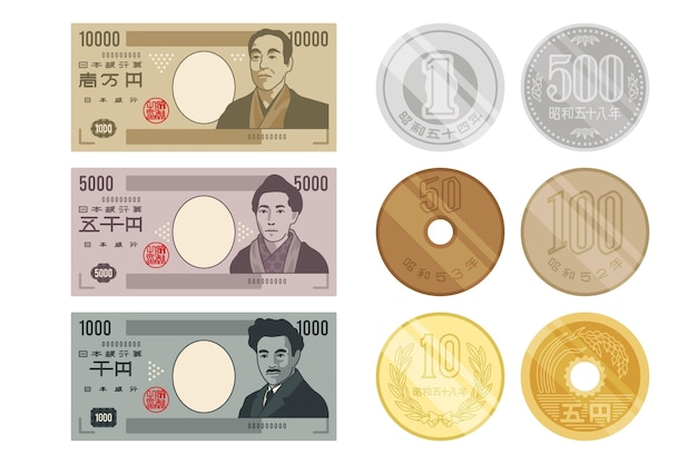 Collection of yen banknotes and coins
