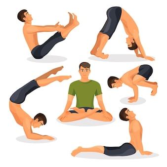 Collection of yoga poses with lotos pose in centre on white, bakasana, downward facing dog standing yoga pose, navasana pose, yoga stretching around on  illustration. healthy lifestyle