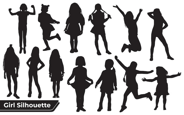 Collection of young girl silhouettes in different positions