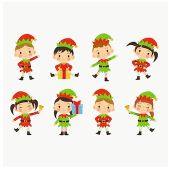 Collection young lovely cute kids in christmas elf costume