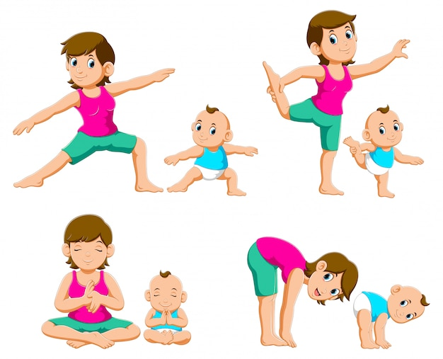 Collection of young mothers and their babies doing yoga exercises