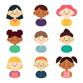 Collection of young people avatars
