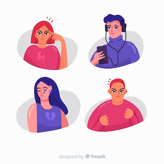 Collection of young people emotions