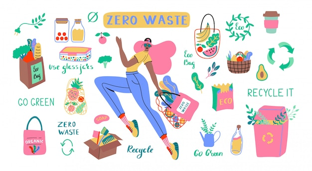 Collection of zero waste durable and reusable items or products - glass jars, eco grocery bags, wooden cutlery, comb, toothbrush and brushes, thermo mug. flat   set illustration