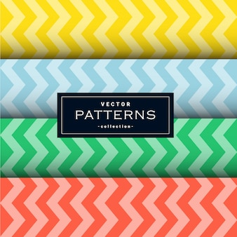 Collection of zigzag lines pattern set in four colors