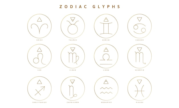 A collection of zodiac glyphs signs and symbols