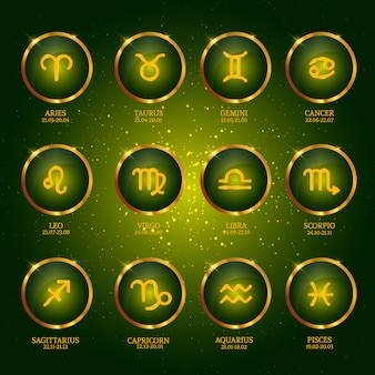 Collection of zodiac icons