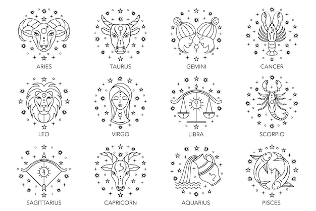 Collection of zodiac signs on white background. line art icons.