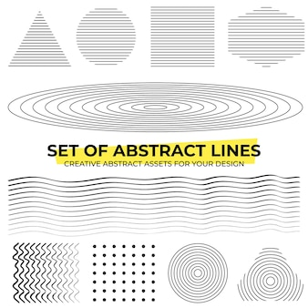 Collections of abstract lines in black and white