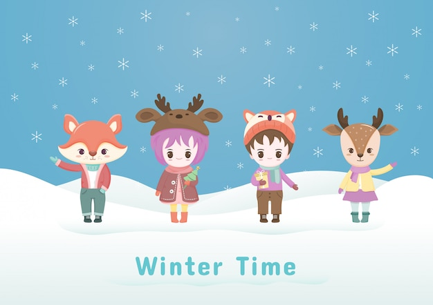 Collections of christmas cartoon character in the winter illustration with snowflake.
