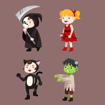 Collections of kids wearing costumes