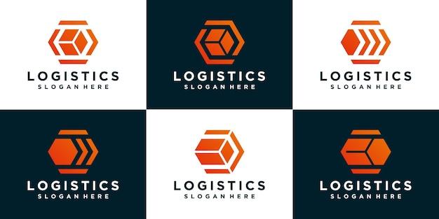 Коллекции шаблона логотипа коробки логистики