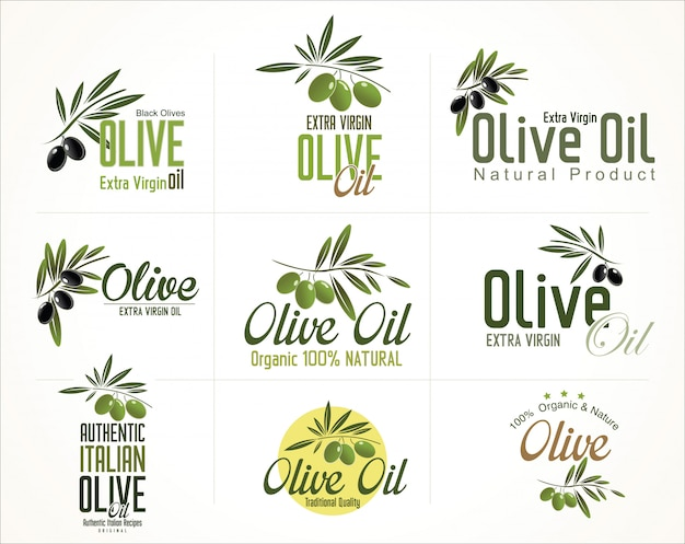 Collections of olive oil labels