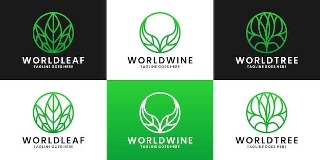 Collections world leaf, world wine world tree logo design vector