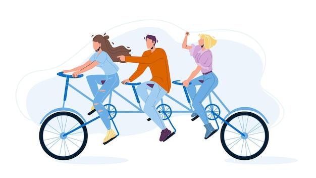 タンデムベクトルに乗る集合的な男の子と女の子。集合ベクトル。集団チームは一緒に自転車に乗る。キャラクター成功したチームワークの進捗状況と関係フラット漫画イラスト