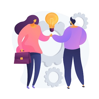 Collective creativity. coworkers shaking hands. partnership work, colleagues collaboration, business deal. creative thinking, experience exchange. vector isolated concept metaphor illustration