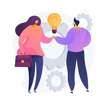集合的な創造性。握手する同僚。パートナーシップの仕事、同僚のコラボレーション、商取引。創造的思考、経験交換。ベクトル分離概念比喩イラスト